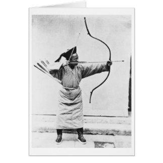Archer chino, c.1870 (foto de b/w) tarjeta de felicitación