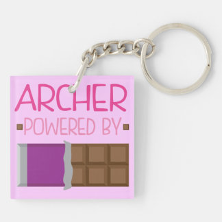 Archer Chocolate Gift for Woman Double-Sided Square Acrylic Keychain