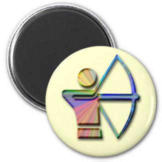 Archer con el arco y la flecha imán redondo 5 cm
