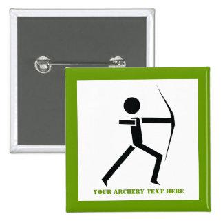Archer con su negro del arco, personalizado verde pin cuadrado
