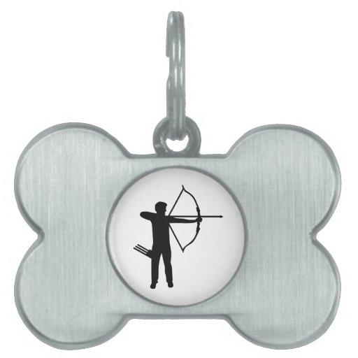 Archer del tiro al arco placas de mascota