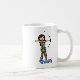 Archer Girl in Camo -  Medium Classic White Coffee Mug