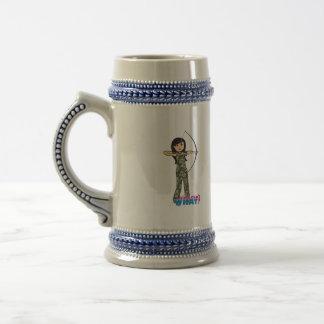 Archer Girl in Camo -  Medium 18 Oz Beer Stein