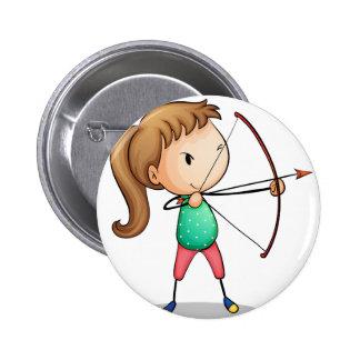 archer girl pinback button