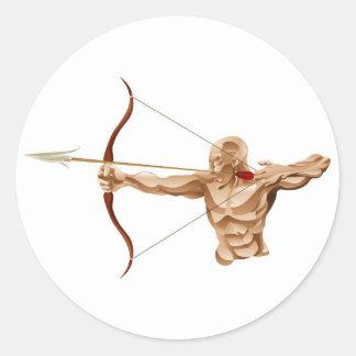 Archer illustration round stickers