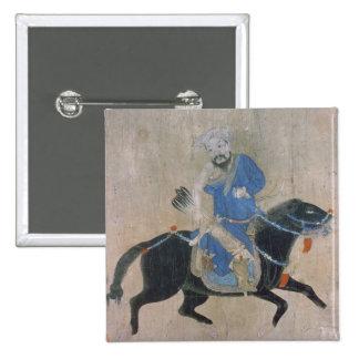 Archer mongol a caballo pin cuadrado