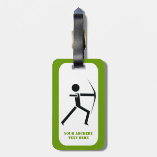 Archer with his bow black, green archery custom bag tag