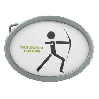 Archer with his bow black, green archery custom belt buckle
