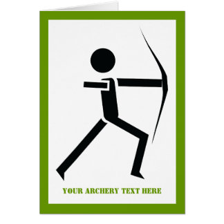 Archer with his bow black, green archery custom greeting card