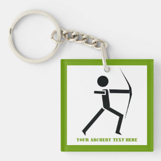 Archer with his bow black, green archery custom Single-Sided square acrylic keychain