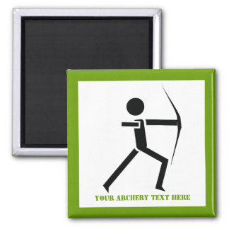 Archer with his bow black, green archery custom 2 inch square magnet