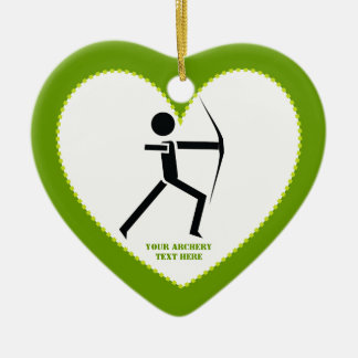Archer with his bow black, green archery custom Double-Sided heart ceramic christmas ornament