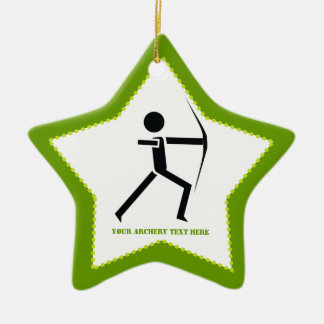 Archer with his bow black, green archery custom Double-Sided star ceramic christmas ornament