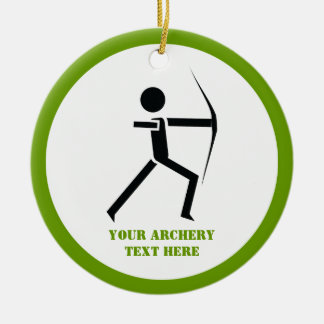 Archer with his bow black, green archery custom Double-Sided ceramic round christmas ornament