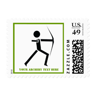 Archer with his bow black, green archery custom postage