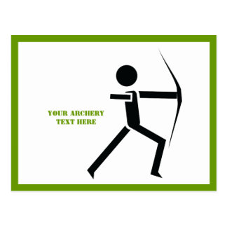 Archer with his bow black, green archery custom postcard