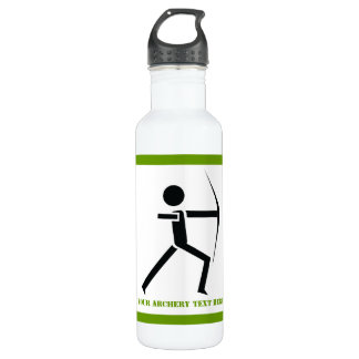 Archer with his bow black, green archery custom stainless steel water bottle