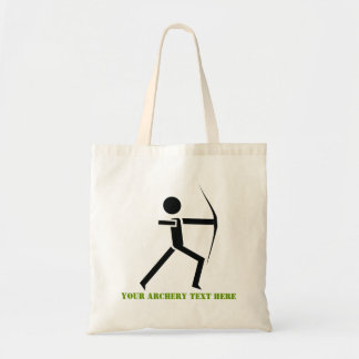 Archer with his bow black, green archery custom tote bag