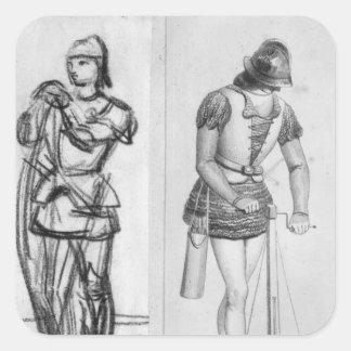Archer y ballestero pegatina cuadrada