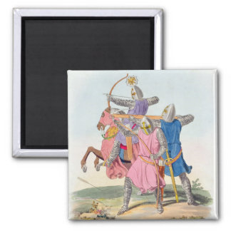 Archers and a Cross-bowman, 1312, from 'Ancient Ar 2 Inch Square Magnet