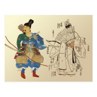 Archers del guerrero con las piezas del uniforme e tarjetas postales
