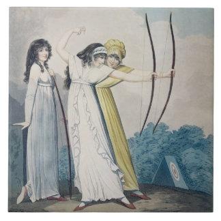 Archers, grabados por J.H. Wright (fl.1795-1838) Azulejo Cuadrado Grande