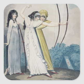 Archers, grabados por J.H. Wright (fl.1795-1838) Pegatina Cuadrada