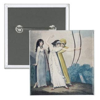 Archers, grabados por J.H. Wright (fl.1795-1838) Pin Cuadrada 5 Cm