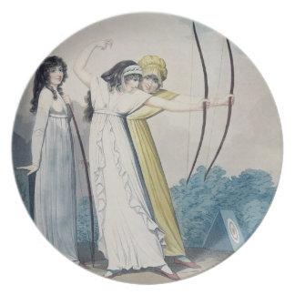 Archers, grabados por J.H. Wright (fl.1795-1838) Platos Para Fiestas