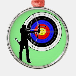 archery2 round metal christmas ornament