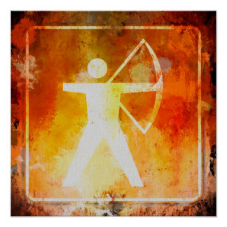 Archery Ahead Highway Road Sign Grunge Poster