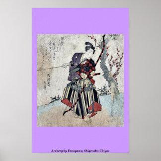 Archery by Yanagawa, Shigenobu Ukiyoe Print