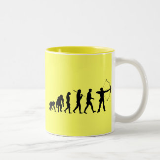 Archery Evolution of an Archery Bow and Arrow Two-Tone Coffee Mug