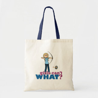 Archery Girl in Blue - Blonde Tote Bags