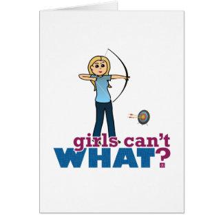 Archery Girl in Blue - Blonde Card