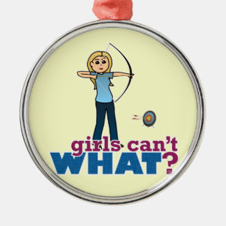 Archery Girl in Blue - Blonde Metal Ornament