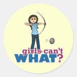 Archery Girl in Blue - Light Classic Round Sticker