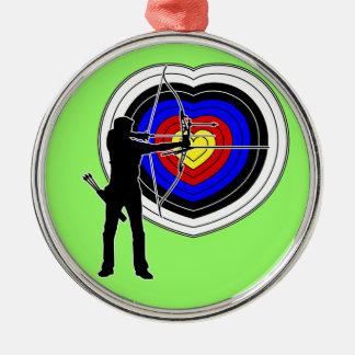 Archery heart-target1 metal ornament