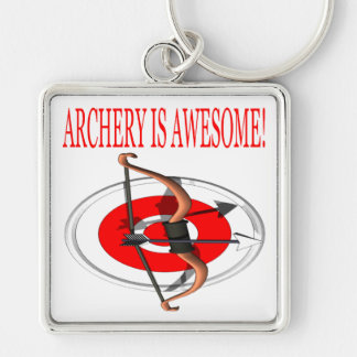 Archery Is Awesome Silver-Colored Square Keychain