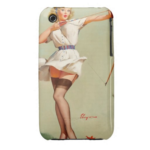 Archery Pin-Up Girl Case-Mate iPhone 3 Cases