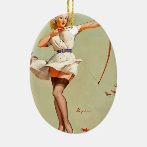 Archery Pin-Up Girl Double-Sided Oval Ceramic Christmas Ornament