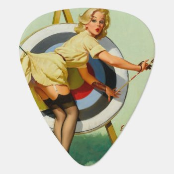 Archery Pin-up Girl Guitar Pick by PinUpGallery at Zazzle