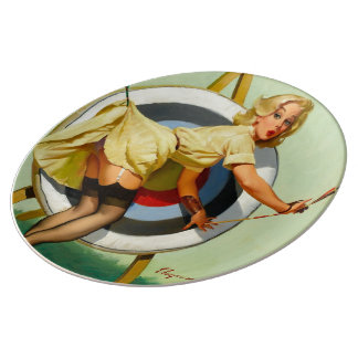 Archery Pin-Up Girl Porcelain Plate