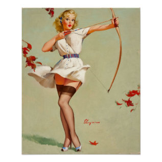 Archery Pin-Up Girl Poster at Zazzle