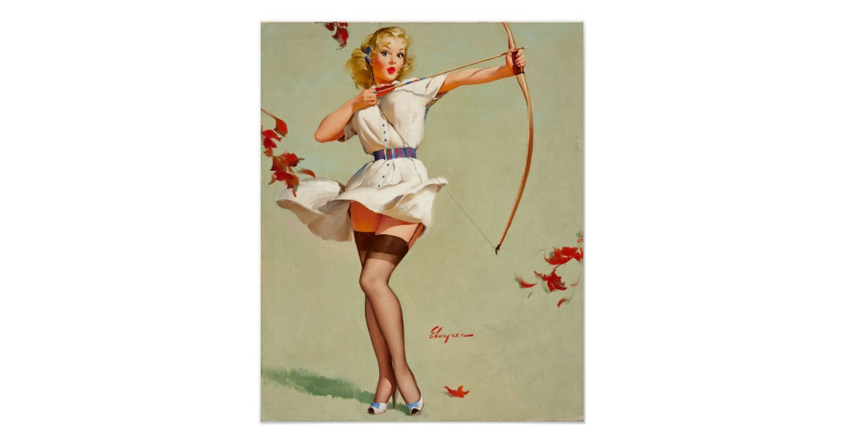 archery pin up girl poster zazzle. Black Bedroom Furniture Sets. Home Design Ideas