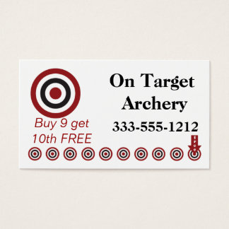 Archery Punch Card Customer Loyalty Business Card