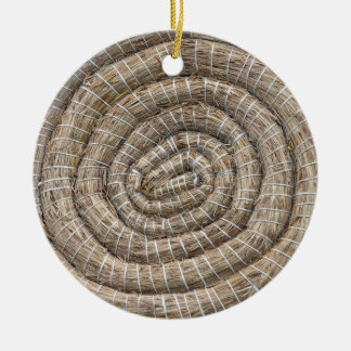 Archery Round Coiled Straw Target Ceramic Ornament