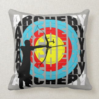 Archery Sport Cool Typography Graphic Throw Pillow
