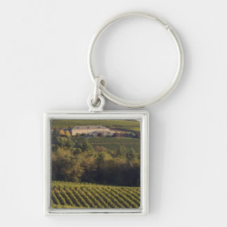 Archery Summit tan building sits atop hill Silver-Colored Square Keychain
