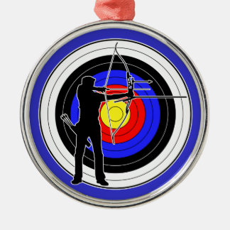Archery & target 01 round metal christmas ornament